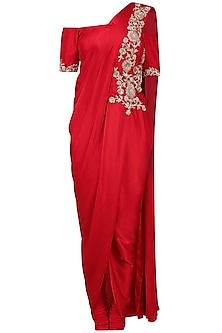 Red off Shoulder Drape Kurta Set by Chhavvi Aggarwal