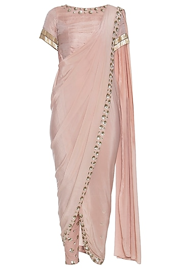 Nude embroidered drape saree kurta with pants by CHHAVVI AGGARWAL