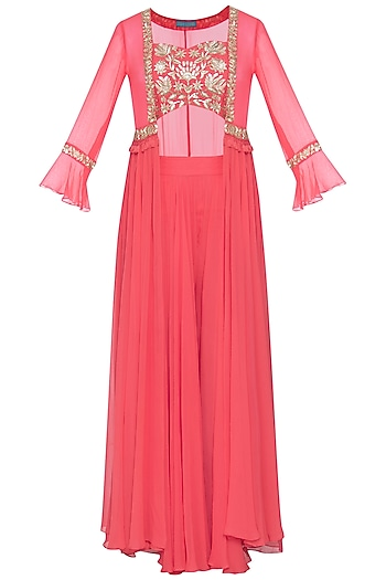 Coral embroidered blouse with palazzo pants and jacket by CHHAVVI AGGARWAL