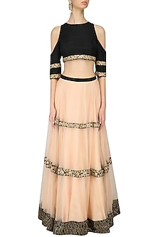 Black Cut Out Crop Top and Zardozi Embroidered Lehenga Skirt by Chhavvi Aggarwal