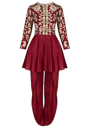 Red Zardozi Embroidered Peplum Jacket and Tulip Pants Set by Chhavvi Aggarwal