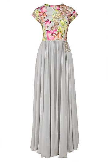 Grey Floral Printed Anarkali Set by Chhavvi Aggarwal