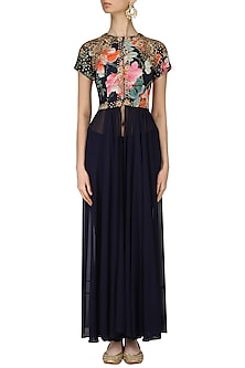 Navy Blue Floral Printed Tunic and Pants Set by Chhavvi Aggarwal