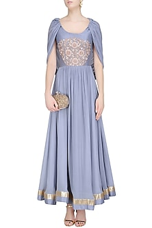 Grey Embroidered Cape Sleeves Anarkali Set by Chhavvi Aggarwal