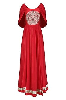 Red Embroidered Cape Anarkali Set by Chhavvi Aggarwal