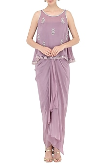 Purple Draped Dress with A Cape by Chhavvi Aggarwal