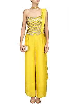 Yellow and  Gold Fringe Detail Jumpsuit by Chhavvi Aggarwal