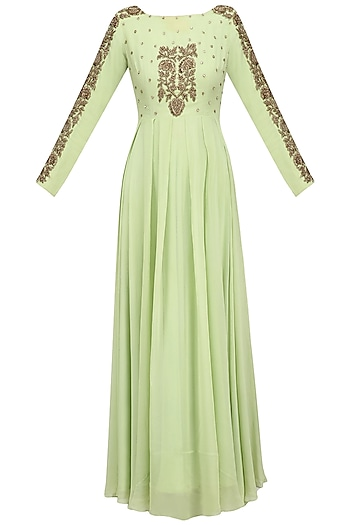 Mint Green Floral Embroidered Anarkali Set by Chhavvi Aggarwal