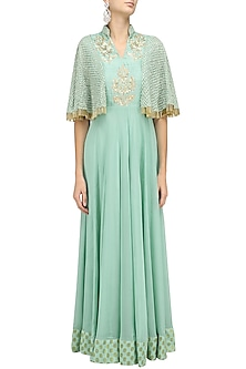 Aqua Blue Floral Embroidered Cape Anarkali by Chhavvi Aggarwal