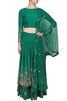 Green zardozi and sequins embroidered lehenga and crop top set by Chhavvi Aggarwal