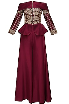 Maroon threadwork embroidered peplum jacket and palazo pants set by Chhavvi Aggarwal
