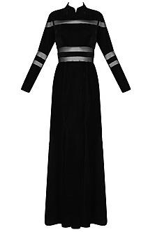 Black sheer floor length gown by Chhavvi Aggarwal
