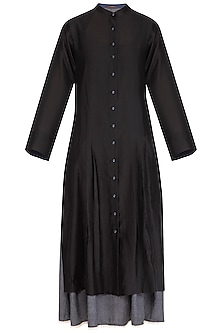 Black Embroidered Shirt Dress With Inner Slip by Chillosophy