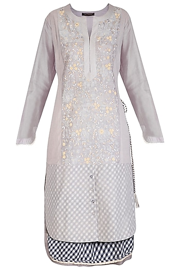 Grey Embroidered Gingham Checks Kurta With Scarf by Chillosophy