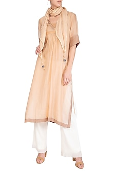 Peach Embroidered Kurta With Scarf by Chillosophy