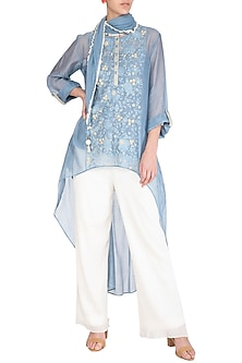 Summer Blue Kurta With Scarf by Chillosophy