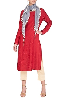 Red Kurta With Pants & Scarf by Chillosophy