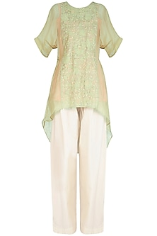 Lime Green Kaftan Kurta With Scarf by Chillosophy