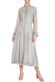 Grey Embroidered Dress With Inner by Chillosophy