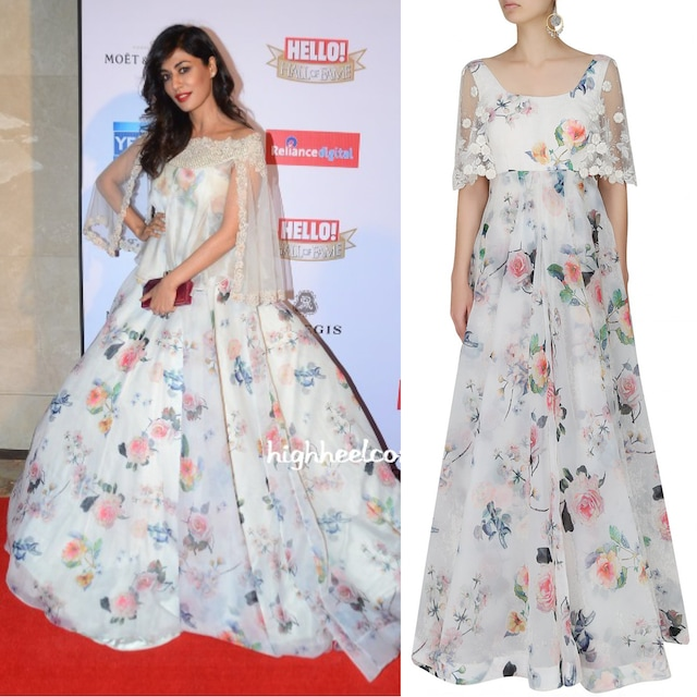 White Printed Gown with Flared Embroidered Sleeves by Dolly J
