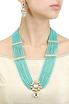 Gold Finish Kundan and Turquoise Beads Multiple String Necklace Set by Chhavi's Jewels