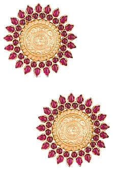 Gold Plated Red Stone Earrings by Chhavi's Jewels