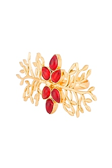 Gold Plated Red Stone Ring by Chhavi's Jewels