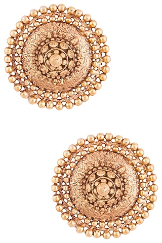 Gold Plated Oversized Stud Earrings by Chhavi's Jewels