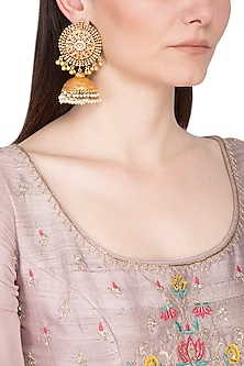 Gold Plated Pearl Hanging Jhumka Earrings by Chhavi's Jewels