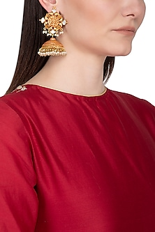 Gold Plated Pearl Hanging Long Jhumka Earrings by Chhavi's Jewels