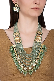 Gold Plated Green Beaded Layered Necklace Set by Chhavi's Jewels