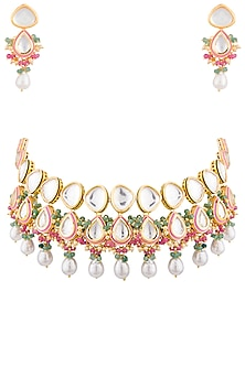 Gold Plated Kundan & Stone Necklace Set by Chhavi's Jewels