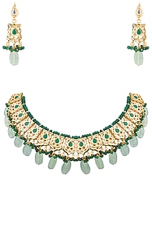 Gold Plated Green Beaded Necklace Set by Chhavi's Jewels