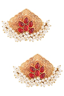 Gold Plated Pearl & Red Stone Earrings by Chhavi's Jewels