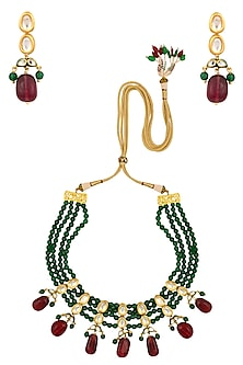 Emerald and Ruby Stone Multi String Necklace Set by Chhavi's Jewels