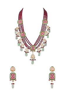 Gold Finish Layered Ruby Necklace Set by Chhavi's Jewels