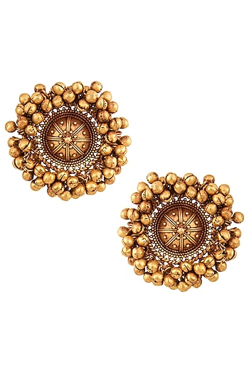 Gold Finish Textured Beads Stud Earrings by Chhavi's Jewels