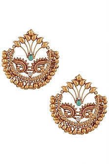 Gold Finish Textured Beads Bali Earrings by Chhavi's Jewels