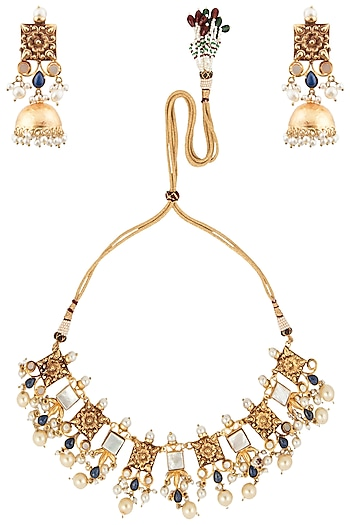 Gold Finish Textured Stones and Pearls Necklace Set by Chhavi's Jewels
