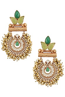 Gold Finish Textured Leaf Pattern, Green Stones and Beads Earrings by Chhavi's Jewels