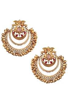 Gold Finish Textured Stones and Beads Chandbali Earrings by Chhavi's Jewels