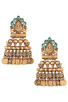 Gold Finish Textured Stone and Coin Earrings by Chhavi's Jewels