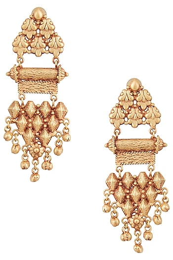 Gold Finish Textured Earrings by Chhavi's Jewels
