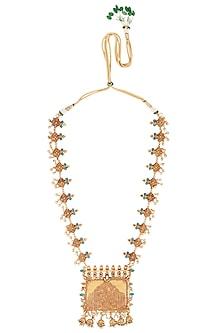 Gold Finish Stone and Pearls Pendant Necklace by Chhavi's Jewels
