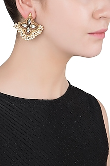 Gold Finish Textured Leaf and Pearl Stud Earrings by Chhavi's Jewels