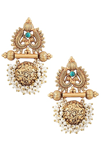 Gold Finish Textured Pearl Earrings by Chhavi's Jewels