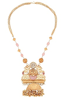Gold Finish Textured Stone and Beads Pendant Necklace by Chhavi's Jewels