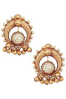 Gold Finish Textured Gold Beads Stud Earrings by Chhavi's Jewels