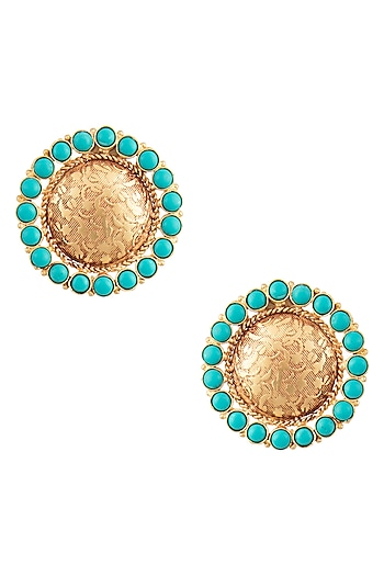 Gold Finish Textured Blue Stones Stud Earrings by Chhavi's Jewels
