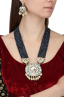 Gold Finish Enamel Detail Blue Beads Multiple String Necklace Set by Chhavi's Jewels